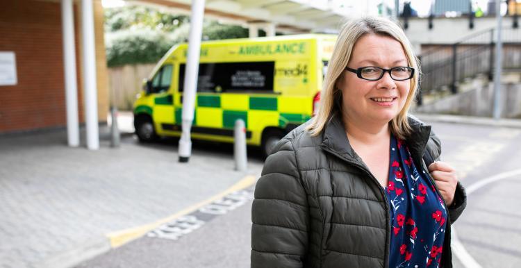 Woman leaving hospital