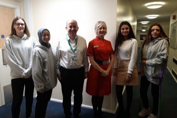 Members of Young Healthwatch Northamptonshire with chief executive Simon Weldon and director of nursing and quality Leanne Hackshall from Kettering General Hospital