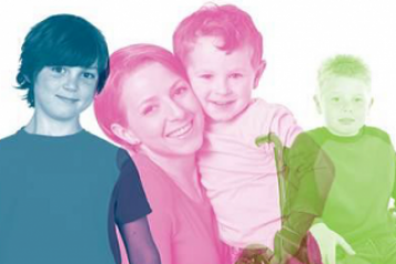 children and woman in healthwatch colours