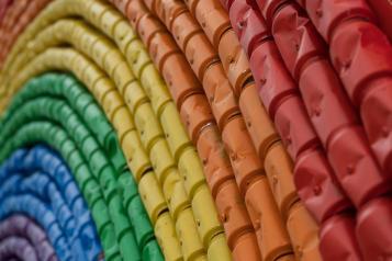 Rainbow pattern on wall