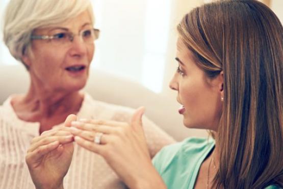 Two women in conversation