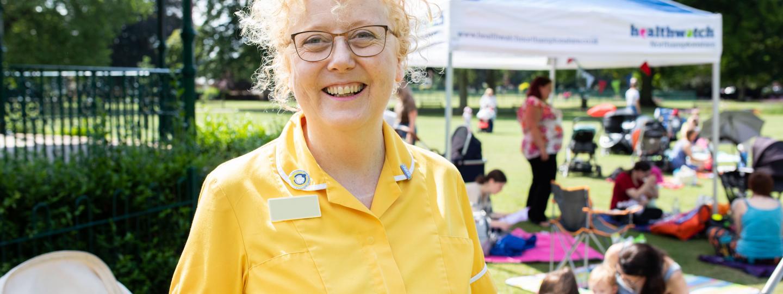 Health visitor at breastfeeding picnic